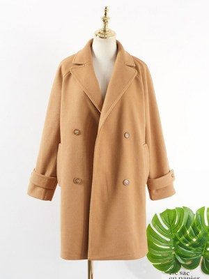 Hyuna Double Breasted Woolen Khaki Coat (12)