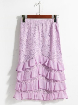 Hyuna Lilac Ruffled Lace Skirt (1)