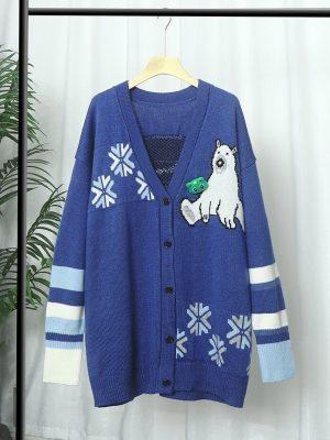 Jisoo – BlackPink Oversized Bear and Snowflake Patterned Cardigan (1)