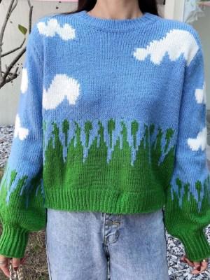 Jisoo Cute Cloud Knitted Sweater (5)