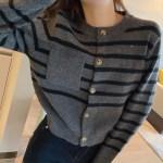 Pocketed Stripe Patterned Cardigan | Joy – Red Velvet