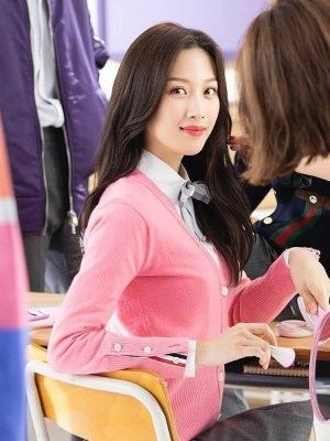 Pink Cardigan With Stripes | Lim Joo Kyung – True Beauty
