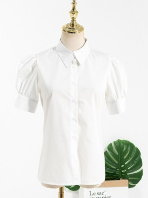 Rose – BlackPink White Puffed Sleeve Blouse (9)