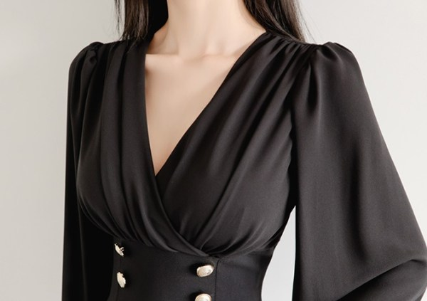 Black Wrap Front Dress With Gold Buttons | Ryujin – ITZY