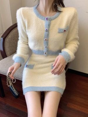 Soojin – (G)I-DLE Fluffy Knitted Crop Cardigan (8)