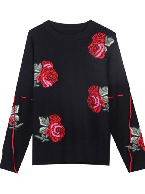 Yuna – ITZY Flower Embroidered Black Sweater (8)