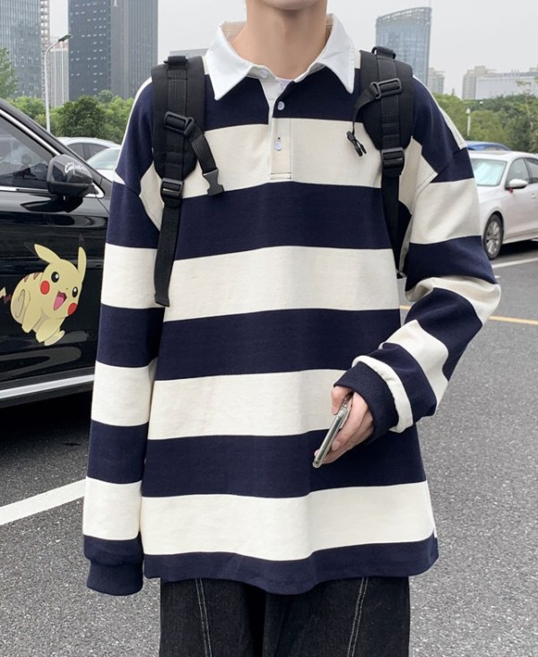 Yellow And Blue Stripe Patterned Polo Shirt   Doyoung – NCT