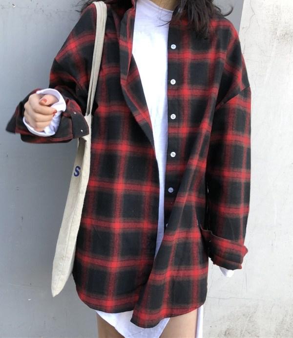 Red Plaid Collared Shirt | Han Seo Jun – True Beauty