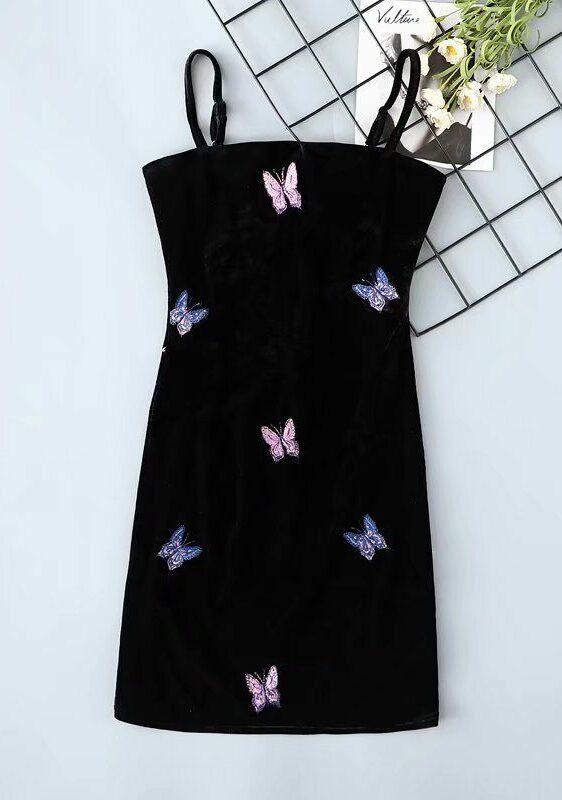 Black Velvet Butterfly Bodycon Dress | IU