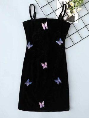 IU – Black Velvet Butterfly Bodycon Dress (10)