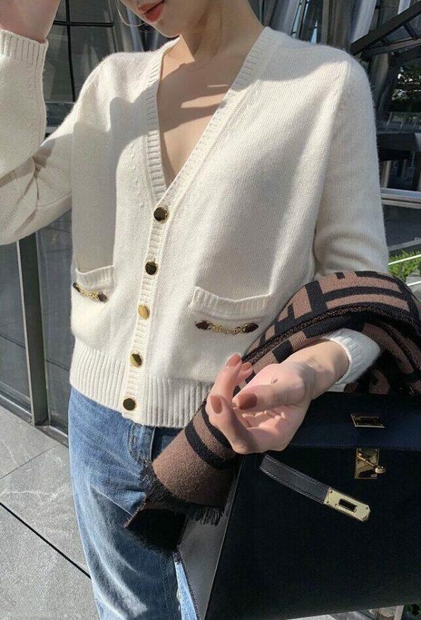Khaki Cashmere Knit Cardigan | IU