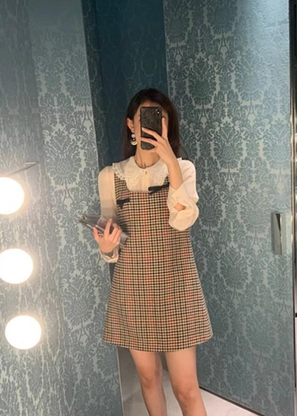 Checkered Suspender Dress | Irene – Red Velvet