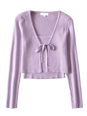 Jennie – BlackPink Lilac Cropped Top and Cardigan Set (7)