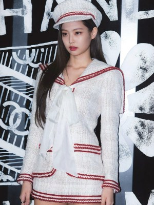 White Tweed Jacket With Navy Collar | Jennie – BlackPink