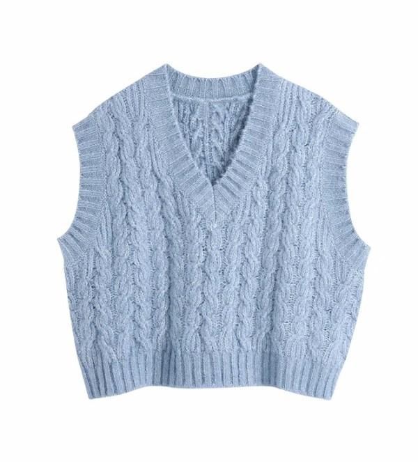 Blue V-Neck Knitted Vest   Jeongin – Stray Kids