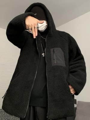 Jimin – BTS Black Lamb Wool Hooded Jacket (17)