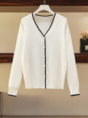 Lim Joo Kyung – True Beauty White V-Neck Knitted Cardigan (9)