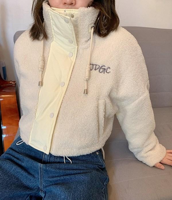 Beige Short Lamb Wool Jacket   Lisa – Blackpink