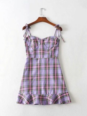 Miyeon – (G)I-DLE Lilac Plaid Dress (39)