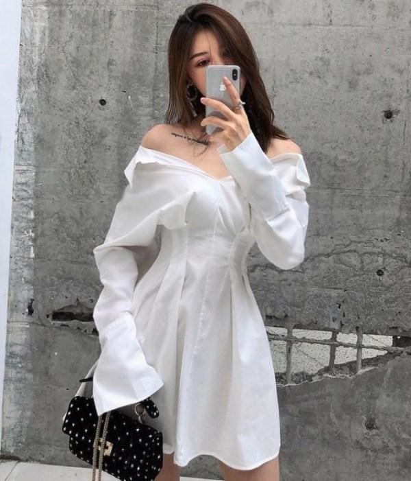 White Off-Shoulder Shirt Dress | Soojin – (G)I-DLE