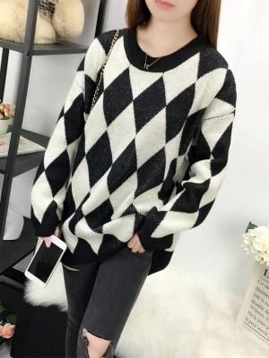 Key – Shinee Black And White Diamond Patterned Sweater (9)