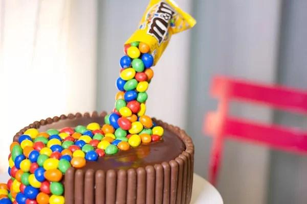 Gravity cake m&m's