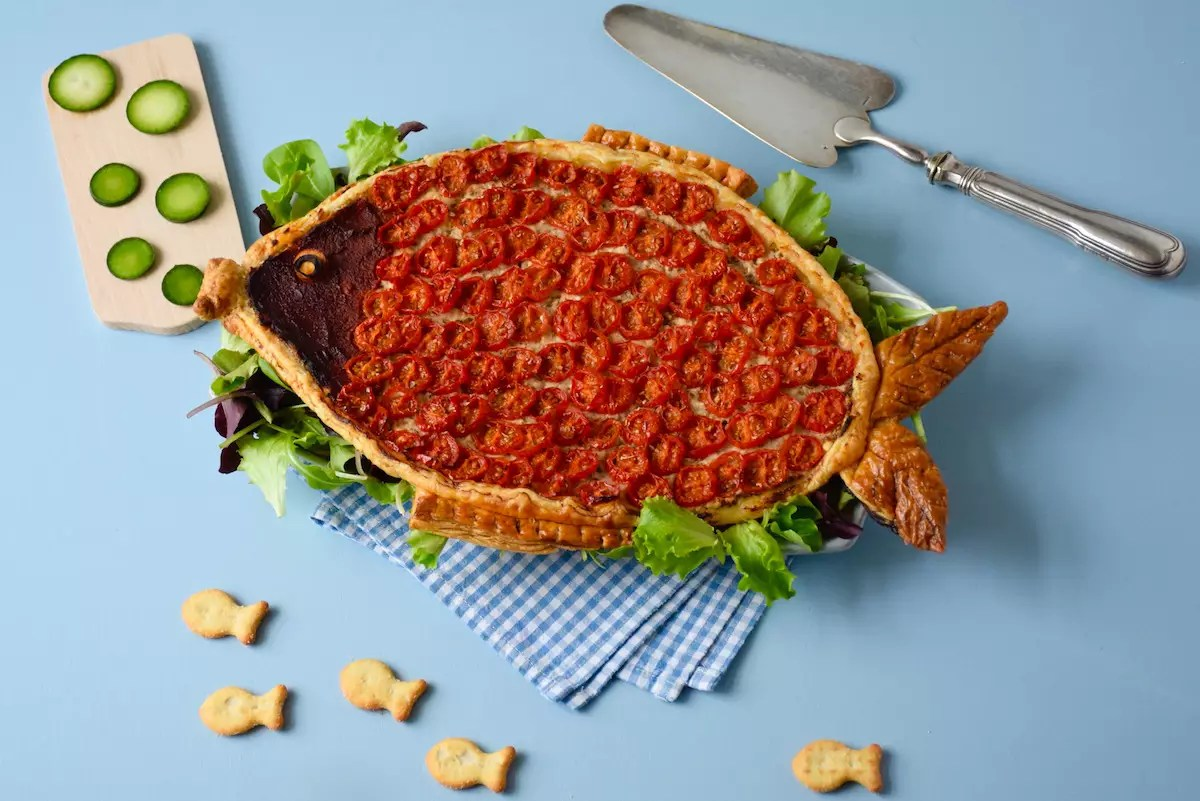 Tarte en forme de poisson d'avril