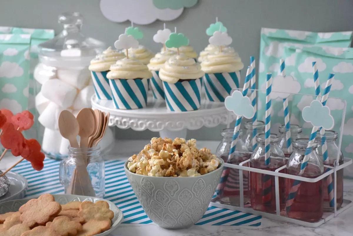 buffet d'anniversaire thème nuage