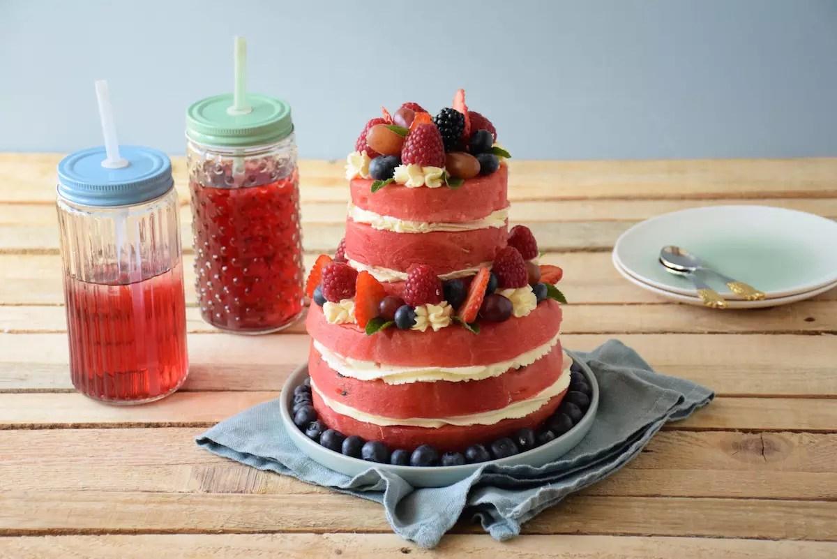 gâteau de pastèque à étage (layer cake de pastèque) - fashioncooking