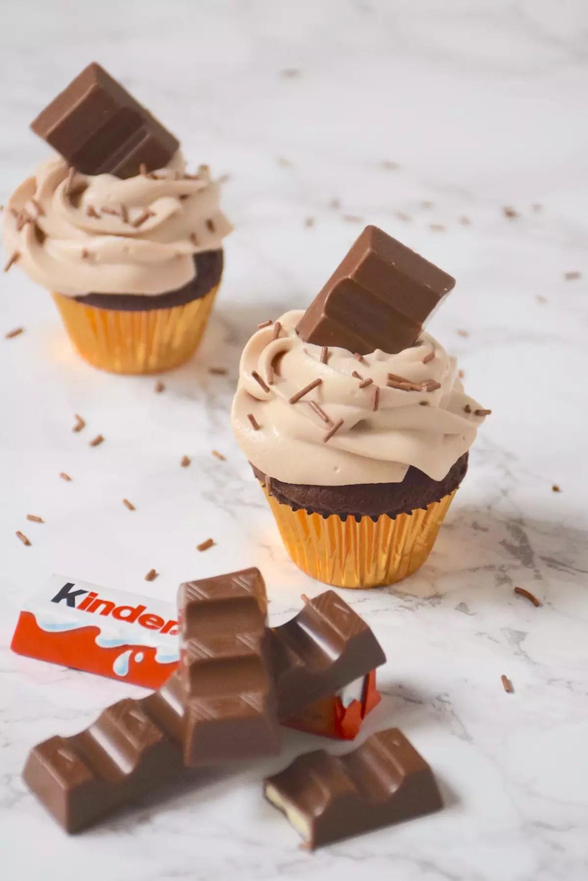 Cupcakes chocolat, ganache montée Kinder