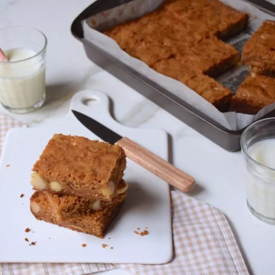 Parfaits blondies chocolat blanc, macadamia