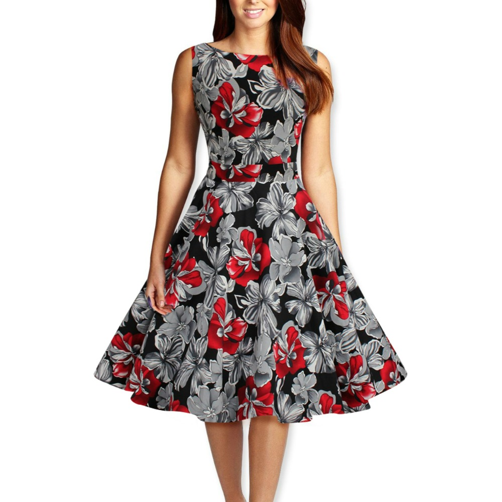 Audrey Hepburn Style Vintage Sleeveless Print Dress