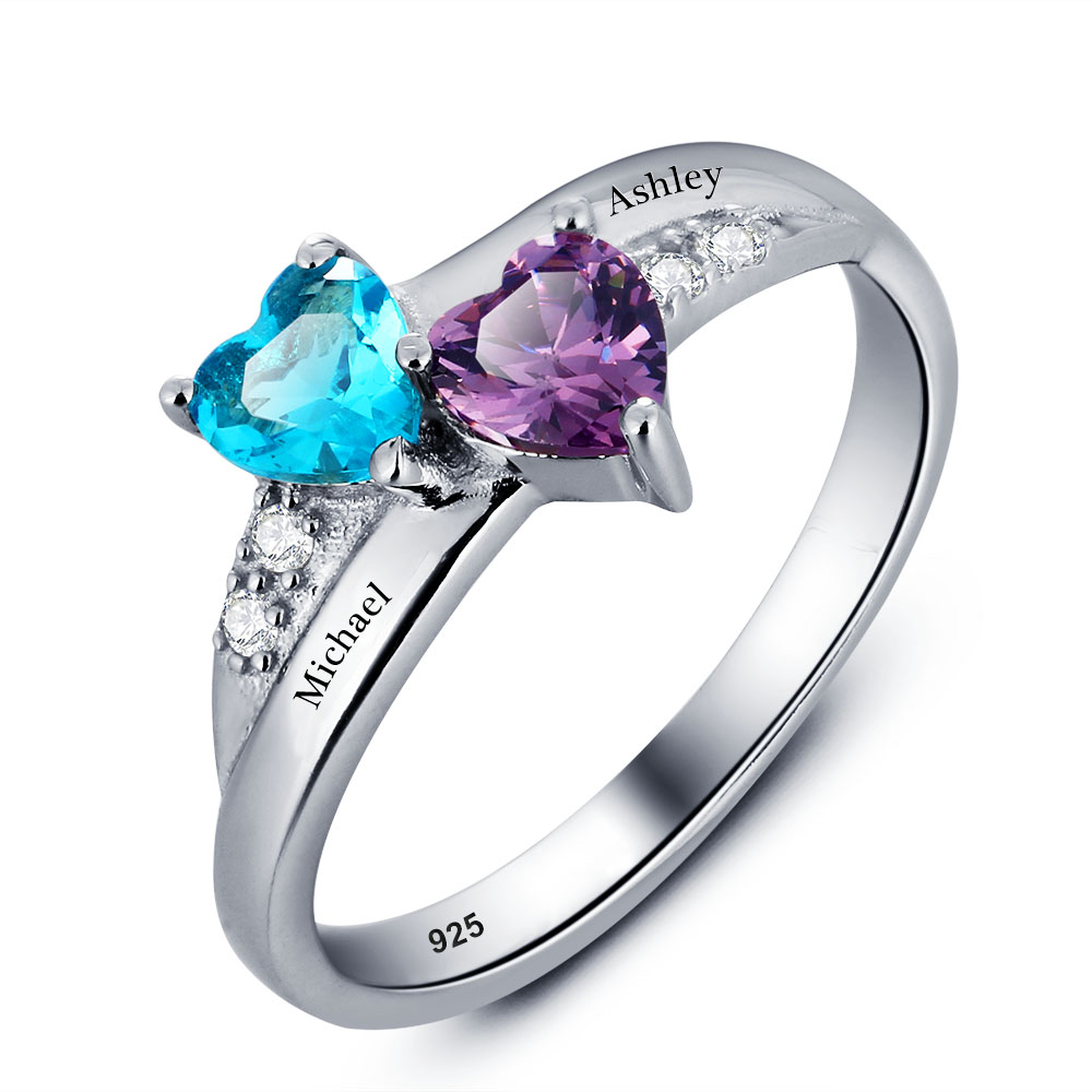 Engraved Birthstone Heart Ring 925 Sterling Silver