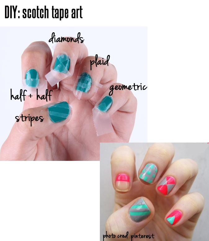 Monochromatic Nail Art Using Scotch Tape Design Idea With Red Glitter Sprinkles Coolest
