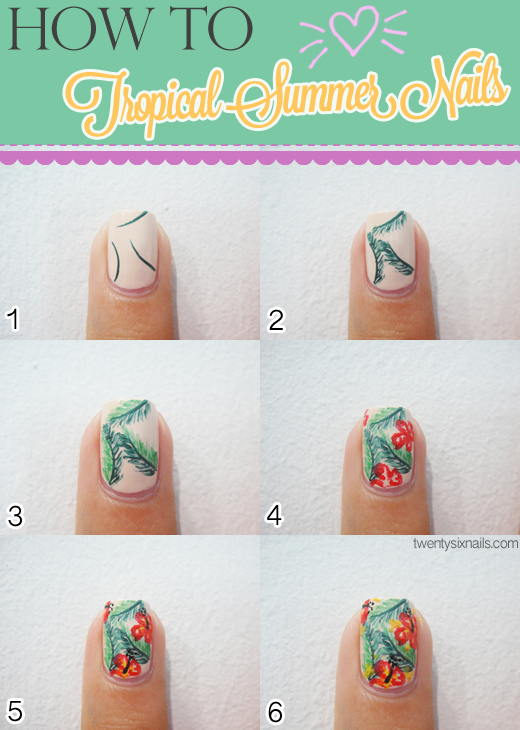 Summer Nail Art Tutorials Tropical Nails Design Collage Tutorial