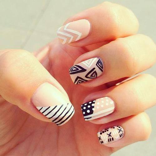 Black White Tribal Nails