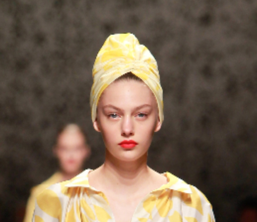 Missoni ss15 yellow scarf worn as a turban