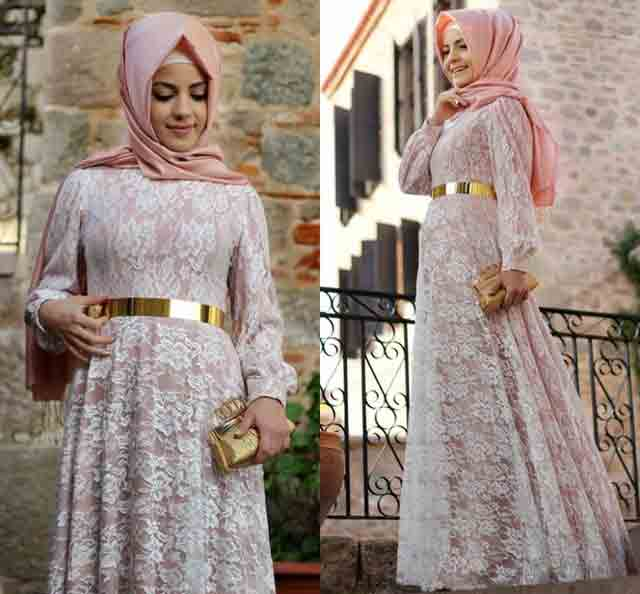 White and baby pink net lace frock style formal party wear abaya with hijab styles