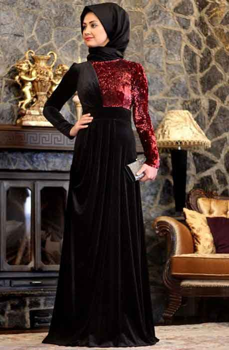 Black and maroon frock style velvet formal party wear abaya with hijab styles