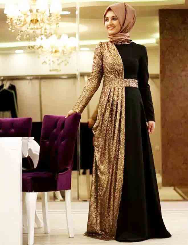Black and shimmery golden frock style formal party wear abaya with hijab styles