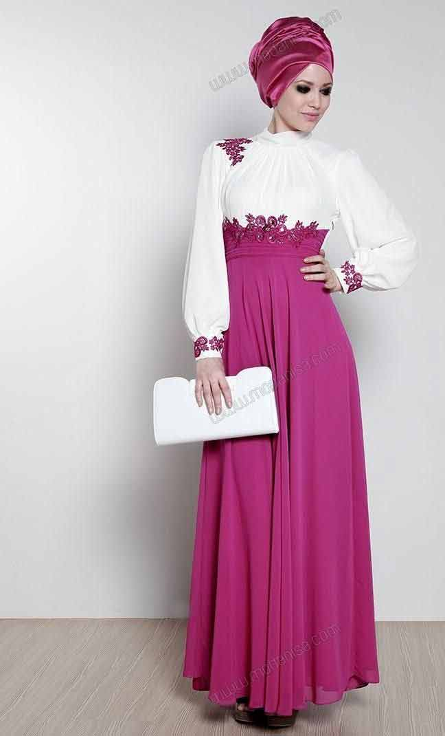White and purple frock style formal party wear abaya with hijab styles