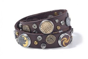 Noosa Damen Armband double skinny studded darkbrown