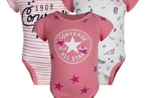 Converse Baby 3 Bodys Geschenk-Set 3-6 Mon. für Jungen und Mädchen