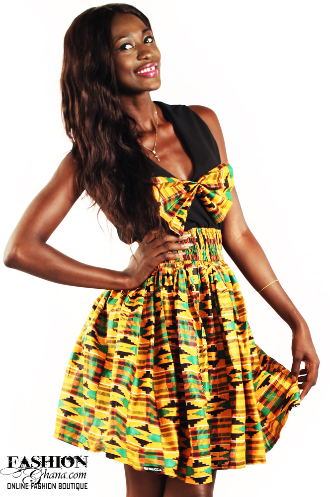African Print Kente Bow Tie Skater Dress
