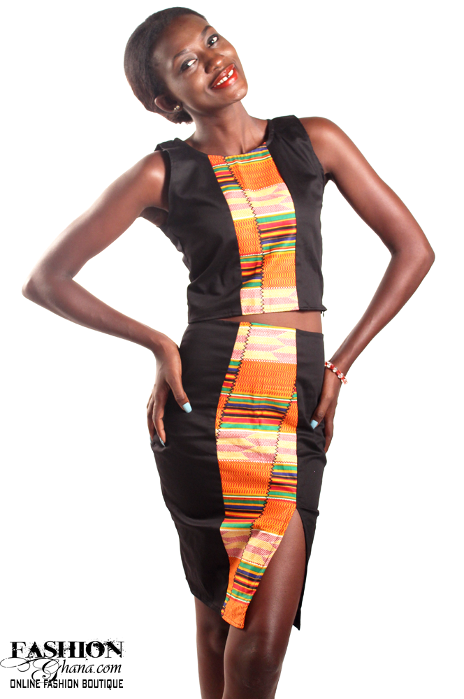 Outfit With Kente Stripe To The Middle