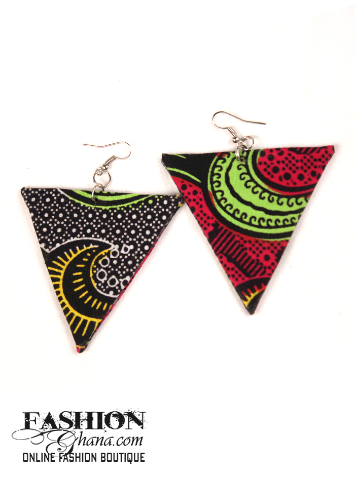 African Print Triangle Earrings