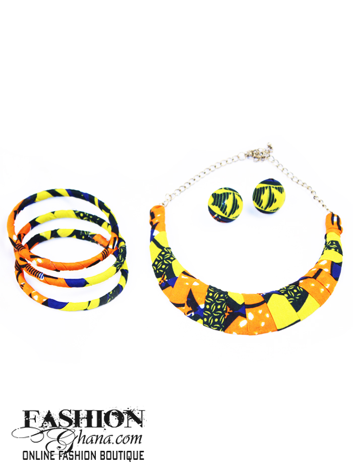 Half Circle African Print Statement Design Necklace (With Set)