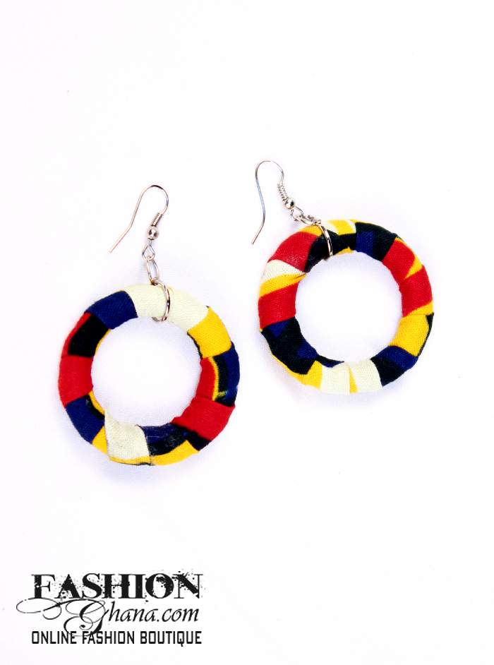 African Print Hoop Ring Earrings