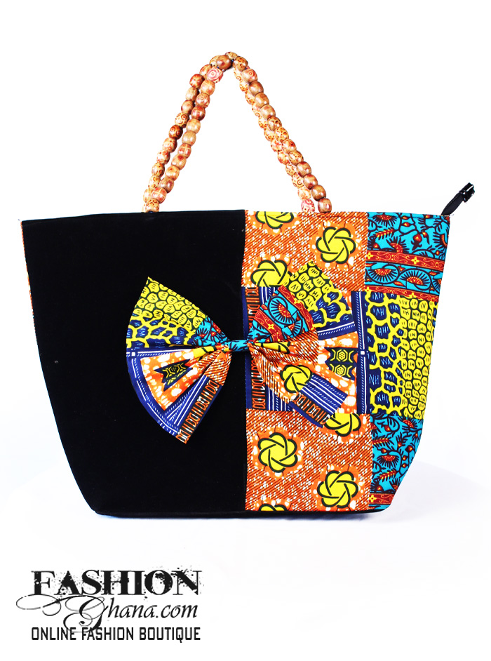 African Print Tote Bag With Bow Tie Detail