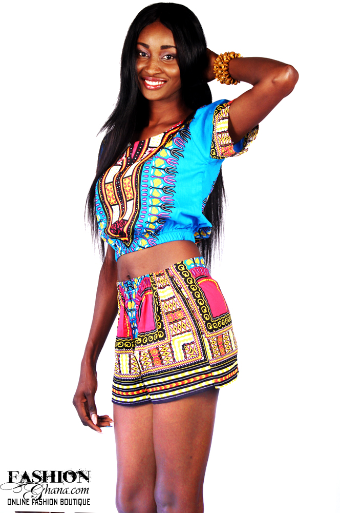 Dashiki / Angelina Print Crop Top & Shorts Outfit